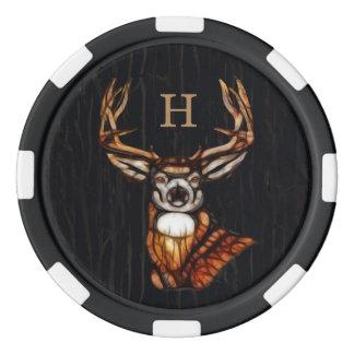 Jetons De Poker Monogramme rustique de pays de cerfs communs en