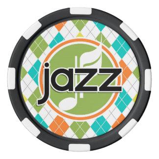 Jetons De Poker Musique de jazz ; Motif à motifs de losanges