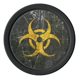 Jetons De Poker Symbole jaune rayé et porté de Biohazard