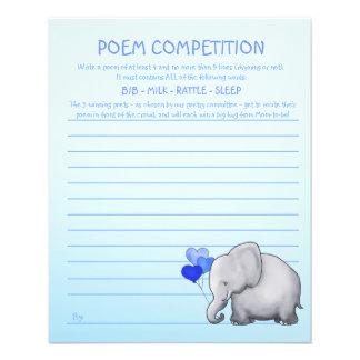 Jeu bleu de concurrence de poème de baby shower prospectus 11,4 cm x 14,2 cm
