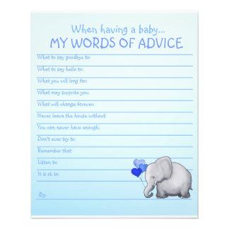 Jeu bleu de conseils de baby shower d'éléphant prospectus 11,4 cm x 14,2 cm
