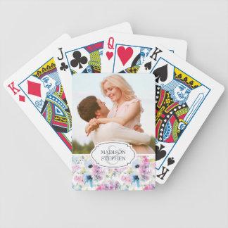 Jeu De Cartes Aquarelle de bouquet floral - photo de mariage