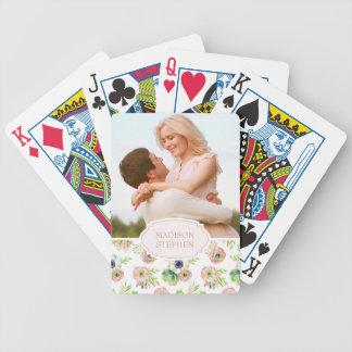 Jeu De Cartes Aquarelle florale et Succulents - photo de mariage
