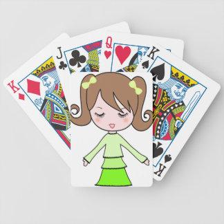 Jeu De Cartes Art de bande dessinée de robe de vert de fille de