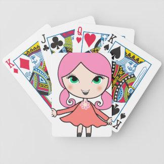 Jeu De Cartes Art rose de bande dessinée de fille de cheveux