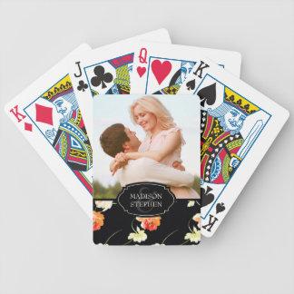 Jeu De Cartes Beau floral noir - photo de mariage