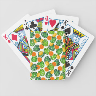 Jeu De Cartes blanc de monstera d'oranges de citrons