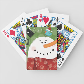 Jeu De Cartes Bonhomme de neige de Noël avec l'oiseau