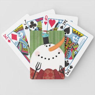 Jeu De Cartes Bonhomme de neige de Noël avec l'oiseau de chant