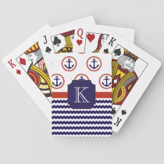 Jeu De Cartes Cartes de jeu de monogramme d'ancre