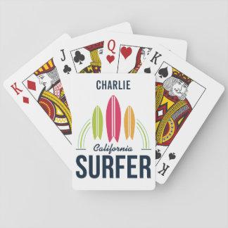 Jeu De Cartes Cartes de jeu faites sur commande de surfer de nom
