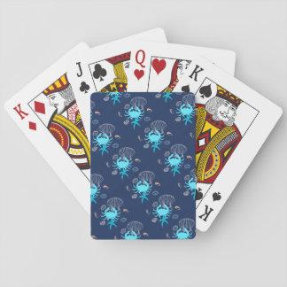 Jeu De Cartes Cartes de jeu nautiques de thème de crabe bleu