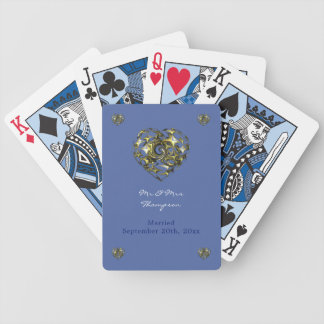 Jeu De Cartes Coeur de mariage de bleu et d'or