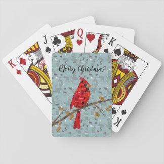 Jeu De Cartes Collage cardinal d'oiseau de Noël