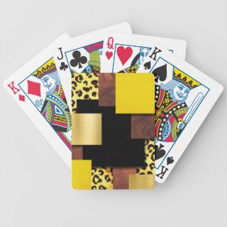 Jeu De Cartes Collage d'empreinte de léopard et en bois