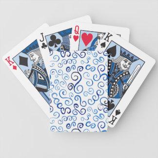 Jeu De Cartes Courbes bleues peintes par résumé