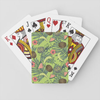 Jeu De Cartes Croquis de fruit tropical sur le motif vert
