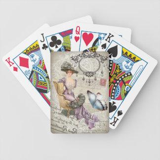 Jeu De Cartes dame vintage de victorian de lustre chic minable