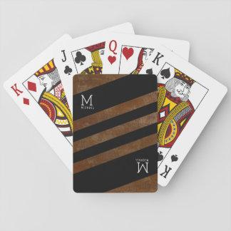 Jeu De Cartes décoré d'un monogramme brun rayé