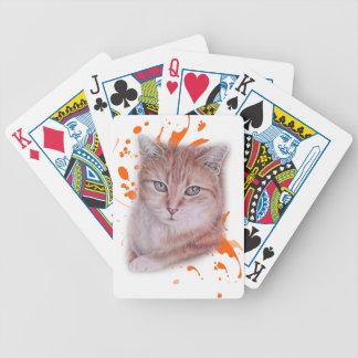 Jeu De Cartes Dessin de chat tigré et de peinture oranges