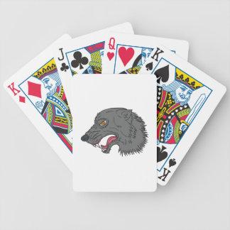 Jeu De Cartes Dessin principal de grognement de loup gris