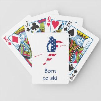 Jeu De Cartes Drapeau des Etats-Unis d'Américain de ski de