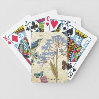 Jeu De Cartes Fleurs, papillons, et collage d'oiseau