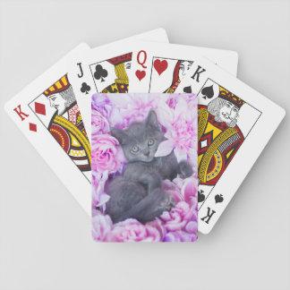 Jeu De Cartes Floral pourpre de chaton de couvreur