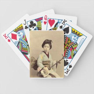 Jeu De Cartes Geisha japonais vintage jouant le shamisen