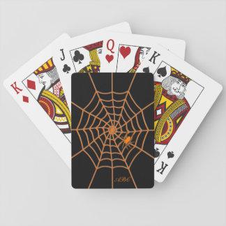 Jeu De Cartes Initiales noires oranges d'araignée et de Web
