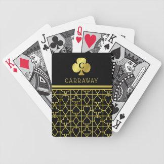 Jeu De Cartes La carte noire chique d'or adapte au trèfle décoré