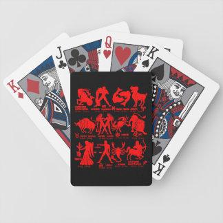 Jeu De Cartes Le zodiaque noir rouge signe des cartes de jeu de