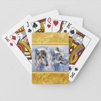 Jeu De Cartes Loups bleus et blancs de glace avec la texture de