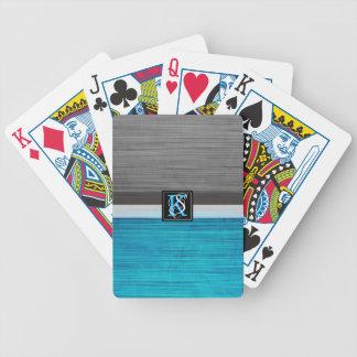 Jeu De Cartes Monogramme bleu et gris du ton deux simple