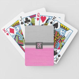 Jeu De Cartes Monogramme rose et gris du ton deux simple