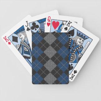 Jeu De Cartes Motif à motifs de losanges de bleu et de Knit gris