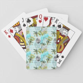 Jeu De Cartes Motif abstrait de palmier d'aquarelle