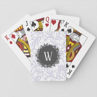 Jeu De Cartes Motif gris-clair de papier peint floral avec le