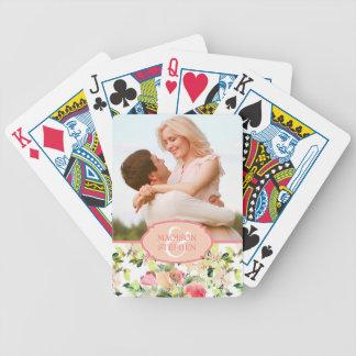 Jeu De Cartes Motif rose de fleur d'aquarelle - photo de mariage