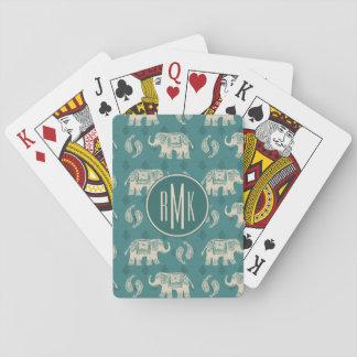 Jeu De Cartes Motif turquoise de caravane d'éléphant