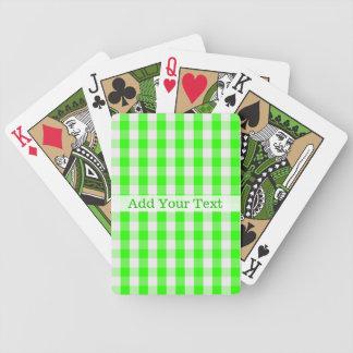 Jeu De Cartes Motif vert au néon de guingan par Shirley Taylor