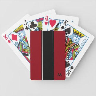 Jeu De Cartes Noir blanc noir rouge de monogramme de la rayure |
