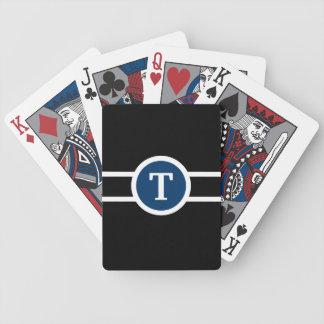 Jeu De Cartes Noir et blanc bleu de ~ décoré d'un monogramme