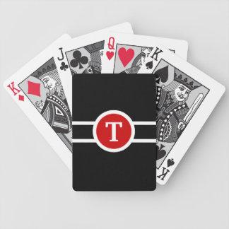 Jeu De Cartes Noir et blanc rouge de ~ décoré d'un monogramme