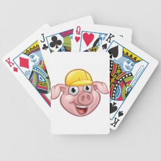 Jeu De Cartes Personnage de dessin animé de porc de constructeur