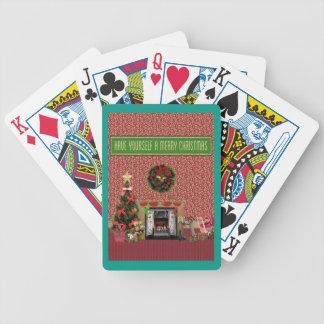 Jeu De Cartes Pièce de Noël, cheminée, arbre, jouets