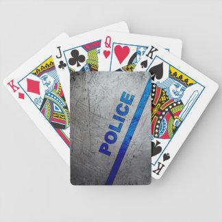 Jeu De Cartes Police - bleu sur le métal rayé