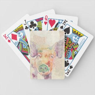 Jeu De Cartes Porc de collage de ferme d'aquarelle