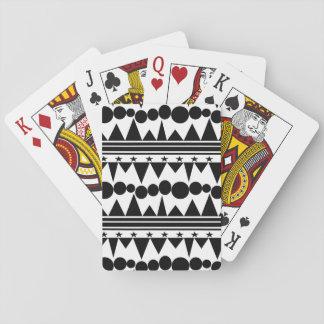 Jeu De Cartes Rayé géométrique de Bohème noir et blanc