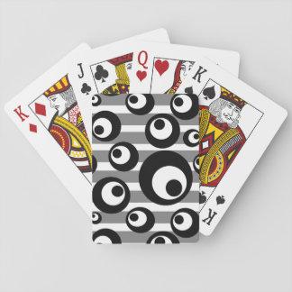 Jeu De Cartes Rayures noires et blanches de cercles géométriques